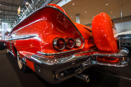 STUTTGART, GERMANY - MARCH 02, 2017: Fragment of the full-size car Chevrolet Impala convertible, 1958. Europes greatest classic car exhibition RETRO CLASSICS Editorial