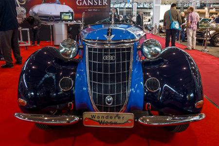 STUTTGART, GERMANY - MARCH 02, 2017: Sports car Wanderer W25K Roadster, 1936. Europes greatest classic car exhibition RETRO CLASSICS