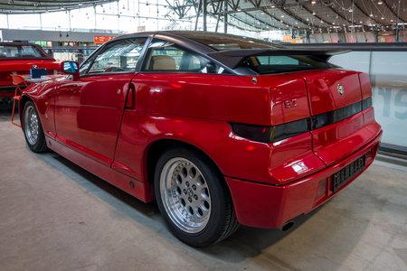 STUTTGART, GERMANY - MARCH 02, 2017: Sports car Alfa Romeo SZ (Sprint Zagato) or ES-30, 1991. Rear view. Europes greatest classic car exhibition RETRO CLASSICS