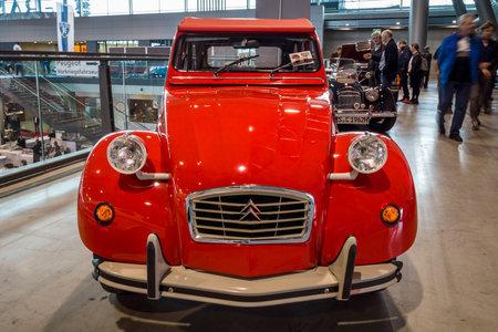 STUTTGART, GERMANY - MARCH 02, 2017: Economy car Citroen 2CV. Europe's greatest classic car exhibition