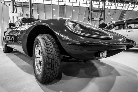STUTTGART, GERMANY - MARCH 02, 2017: Sports car Marcos 1500 GT, 1967. Black and white. Europes greatest classic car exhibition RETRO CLASSICS Editorial