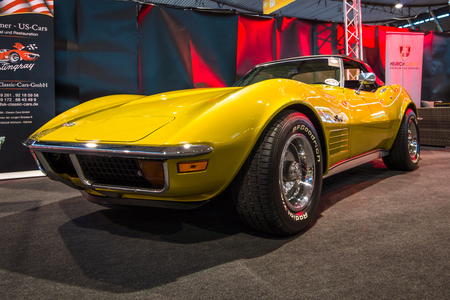 STUTTGART, GERMANY - MARCH 02, 2017: Sports car Chevrolet Corvette Stingray (C3). Europes greatest classic car exhibition RETRO CLASSICS