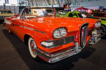 STUTTGART, GERMANY - MARCH 03, 2017: Full-size car Edsel Pacer Convertible, 1958. Europes greatest classic car exhibition RETRO CLASSICS