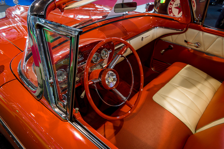 classics: STUTTGART, GERMANY - MARCH 03, 2017: Interior of a full-size car Edsel Pacer Convertible, 1958. Europes greatest classic car exhibition RETRO CLASSICS Editorial