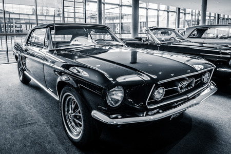 STUTTGART, GERMANY - MARCH 03, 2017: Pony car Ford Mustang convertible, 1967. Black and white.  Europes greatest classic car exhibition RETRO CLASSICS Editorial