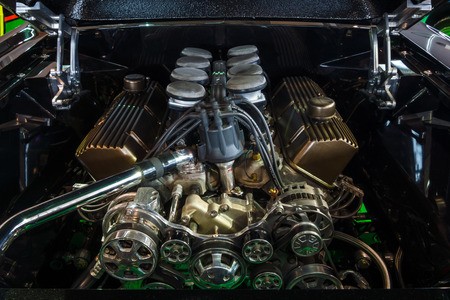 classics: STUTTGART, GERMANY - MARCH 03, 2017: The fuel injected 460 big block the Ford engine (550 HP, 7,5L) of the Ford Mustang, 1967. Europes greatest classic car exhibition RETRO CLASSICS Editorial