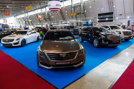 STUTTGART, GERMANY - MARCH 03, 2017: Stand with modern American cars. In the foreground Cadillac CT6 AWD, 2016. Europes greatest classic car exhibition RETRO CLASSICS Editorial