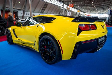 STUTTGART, GERMANY - MARCH 03, 2017: Sports car Chevrolet Corvette Z06, 2017. Rear view. Europes greatest classic car exhibition RETRO CLASSICS