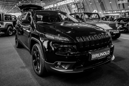 75853002 Stuttgart Germany March 03 2017 Mid Size Luxury Suv Jeep Grand  Cherokee 2017 Black And White Europe ?veru003d6