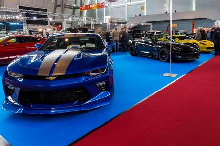 STUTTGART, GERMANY - MARCH 03, 2017: Stand with modern American cars. In the foreground, Chevrolet Camaro SS (sixth generation). Europes greatest classic car exhibition RETRO CLASSICS