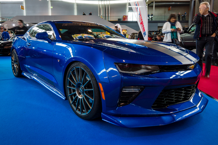 STUTTGART, GERMANY - MARCH 03, 2017: Muscle car The Chevrolet Camaro SS (sixth generation), 2016. Europes greatest classic car exhibition RETRO CLASSICS