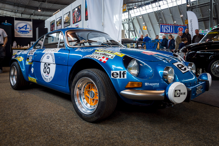 STUTTGART, GERMANY - MARCH 03, 2017: Sports car Alpine A110 1600 SX, 1977. Europes greatest classic car exhibition RETRO CLASSICS