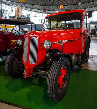 STUTTGART, GERMANY - MARCH 03, 2017: Tractor unit Huerlimann D800 Industrie, 1968. Europes greatest classic car exhibition RETRO CLASSICS