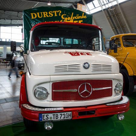 daimler: STUTTGART, GERMANY - MARCH 03, 2017: Truck Mercedes-Benz L 710, 1963. Europes greatest classic car exhibition RETRO CLASSICS