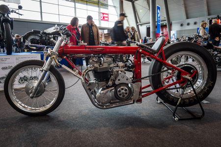 STUTTGART, GERMANY - MARCH 03, 2017: Motorcycle Triumph Dragster Hagon, 1970. Europes greatest classic car exhibition RETRO CLASSICS