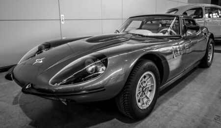 marcos: STUTTGART, GERMANY - MARCH 03, 2017: Sports car Marcos 3000 GT, 1969. Black and white. Europes greatest classic car exhibition RETRO CLASSICS