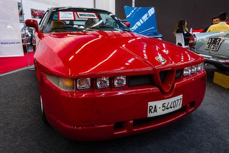 STUTTGART, GERMANY - MARCH 03, 2017: Sports car Alfa Romeo SZ (Sprint Zagato), 1991. Europes greatest classic car exhibition RETRO CLASSICS