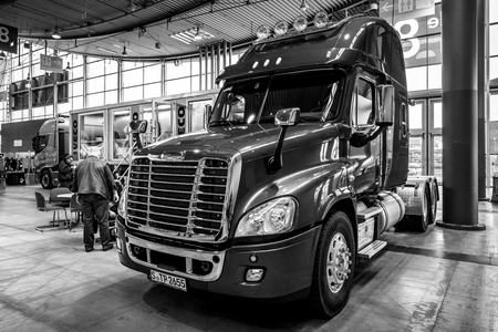 STUTTGART, GERMANY - MARCH 03, 2017: Truck Freightliner Cascadia Evolution, 2015. Black and white. Europe's greatest classic car exhibition