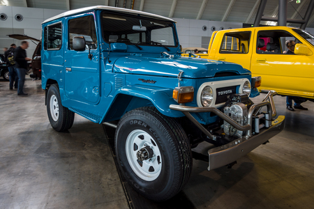 STUTTGART, GERMANY - MARCH 03, 2017: Compact SUV Toyota Land Cruiser (J40). Europes greatest classic car exhibition RETRO CLASSICS