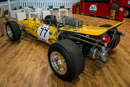 formula one: STUTTGART, GERMANY - MARCH 04, 2017: Race car Serenissima M1AF, 1967. Rear view. Europes greatest classic car exhibition RETRO CLASSICS Editorial