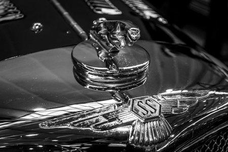 STUTTGART, GERMANY - MARCH 04, 2017: Hood ornamental car of Jaguar SS 100 (Jaguar in the jump). Black and white. Europes greatest classic car exhibition RETRO CLASSICS