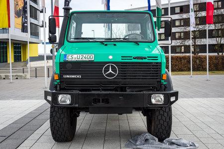 freightliner: STUTTGART, GERMANY - MARCH 04, 2017: The multi-purpose all-wheel drive truck truck Unimog U2400, 2000. Europes greatest classic car exhibition RETRO CLASSICS