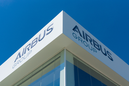 BERLIN, GERMANY - MAY 21, 2014: Office Airbus Group. Exhibition ILA Berlin Air Show 2014