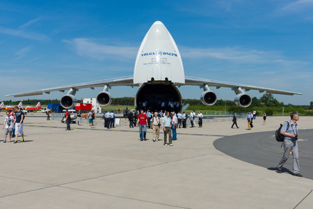BERLIN, GERMANY - MAY 21, 2014: The Antonov An-124 Ruslan is a strategic airlift jet aircraft. Volga-Dnepr Airlines - Russian company specialized transportation of oversized cargo. Exhibition ILA Berlin Air Show 2014