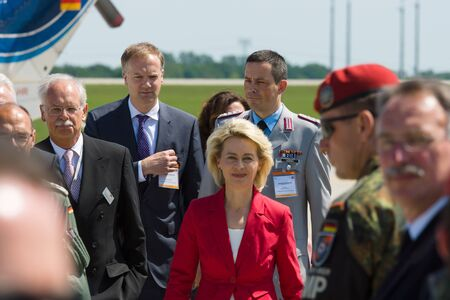 conservative: BERLIN, GERMANY - MAY 21, 2014: Arrival of the Federal Minister of Defence of Germany, Ursula von der Leyen at the exhibition ILA Berlin Air Show 2014