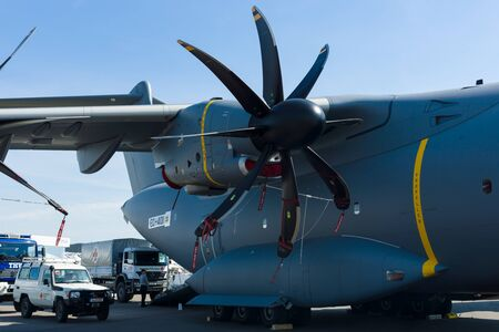 BERLIN, GERMANY - MAY 21, 2014: Turboprop engine Europrop TP400-D6, military transport aircraft Airbus A400M Atlas. Exhibition ILA Berlin Air Show 2014 Editorial