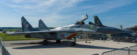 BERLIN, GERMANY - MAY 21, 2014: Air superiority fighter, multirole fighter Mikoyan MiG-29. Polish Air Force. Exhibition ILA Berlin Air Show 2014