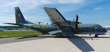 BERLIN, GERMANY - MAY 21, 2014: A twin-turboprop tactical military transport aircraft EADS CASA C-295M. Czech Air Force. Exhibition ILA Berlin Air Show 2014