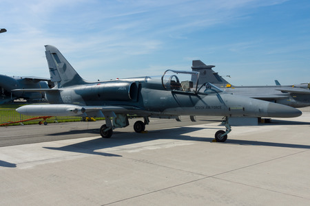 BERLIN, GERMANY - MAY 21, 2014: Military Advanced Light Combat Aircraft Aero Vodochody L-159 ALCA. Czech Air Force. Exhibition ILA Berlin Air Show 2014