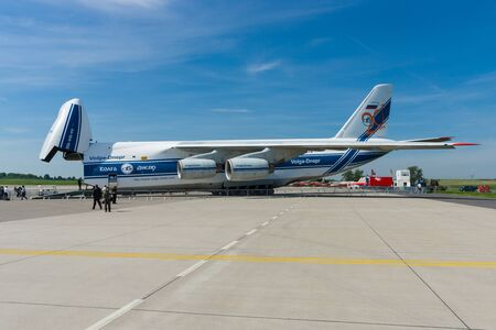 BERLIN, GERMANY - MAY 21, 2014: Antonov An-124 Ruslan is a transport jet aircraft. Volga-Dnepr Airlines - Russian company specialized transportation of oversized cargo. Exhibition ILA Berlin Air Show 2014