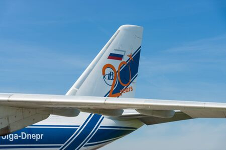 airstrip: BERLIN, GERMANY - MAY 21, 2014: The empennage of the transport jet aircraft Antonov An-124 Ruslan. Exhibition ILA Berlin Air Show 2014 Editorial
