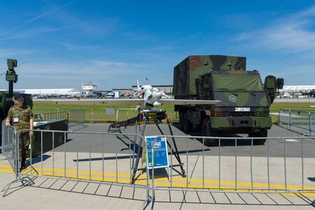 BERLIN, GERMANY - MAY 21, 2014: An unmanned aerial vehicle EMT Luna X-2000. German Army. Exhibition ILA Berlin Air Show 2014