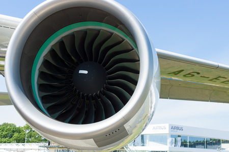 BERLIN, GERMANY - MAY 21, 2014: A turbofan engine Rolls-Royce Trent 900 the largest aircraft in the world - Airbus A380. Emirates Airline. Exhibition ILA Berlin Air Show 2014