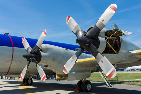 BERLIN, GERMANY - MAY 21, 2014: Engines Allison T56-A-14 of the four-engine turboprop anti-submarine and maritime surveillance aircraft Lockheed P-3C Orion. German Navy. Exhibition ILA Berlin Air Show 2014