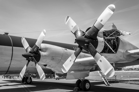 BERLIN, GERMANY - MAY 21, 2014: Engines Allison T56-A-14 of the four-engine turboprop anti-submarine and maritime surveillance aircraft Lockheed P-3C Orion. German Navy. Black and White. Exhibition ILA Berlin Air Show 2014 Editorial