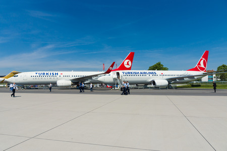 BERLIN, GERMANY - MAY 21, 2014: A short-to medium-range twinjet narrow-body airliner Boeing 737-800. Turkish Airlines. Exhibition ILA Berlin Air Show 2014 Stok Fotoğraf - 79207297