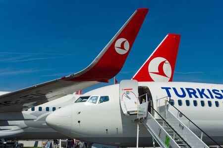 BERLIN, GERMANY - MAY 21, 2014: A short-to medium-range twinjet narrow-body airliner Boeing 737-800. Turkish Airlines. Exhibition ILA Berlin Air Show 2014