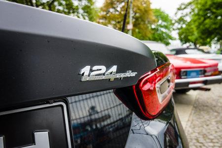 BERLIN - MAY 13, 2017: Detail of a sports car Abarth 124 Spider, 2016. Exhibition Oldtimertage Berlin-Brandenburg.