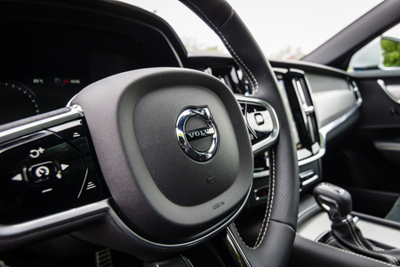BERLIN - MAY 13, 2017: Interior of the executive car Volvo V90 D4 AWD R-Design, 2016. Exhibition Oldtimertage Berlin-Brandenburg.