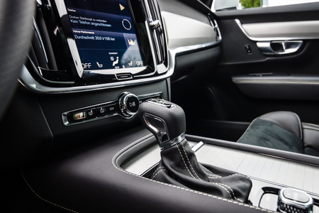 BERLIN - MAY 13, 2017: Detail of the interior of the executive car Volvo V90 D4 AWD R-Design, 2016. Exhibition Oldtimertage Berlin-Brandenburg.