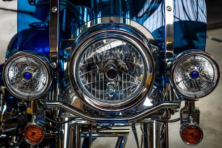 BERLIN - MAY 13, 2017: Detail of motorcycle Harley-Davidson Road King. Exhibition Oldtimertage Berlin-Brandenburg.