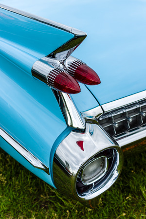 PAAREN IM GLIEN, GERMANY - JUNE 03, 2017: Rear stoplights of a full-size luxury car Cadillac Coupe DeVille, 1959. Exhibition Die Oldtimer Show.