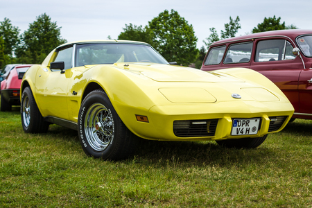 PAAREN IM GLIEN, GERMANY - JUNE 03, 2017: Sports car Chevrolet Corvette Stingray Coupe, 1976. Exhibition Die Oldtimer Show.