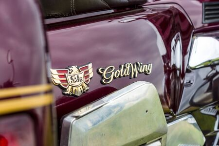 PAAREN IM GLIEN, GERMANY - JUNE 03, 2017: Emblem of a touring motorcycle Honda Gold Wing GL1500. Exhibition Die Oldtimer Show.