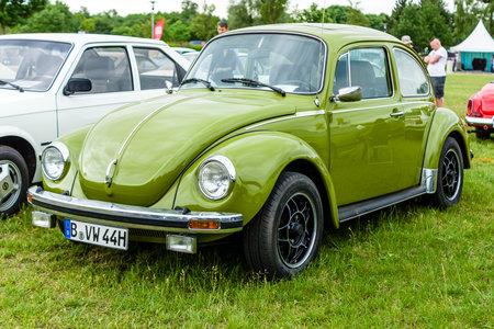 PAAREN IM GLIEN, GERMANY - JUNE 03, 2017: Economy car Volkswagen Beetle, 1975. Exhibition Die Oldtimer Show.