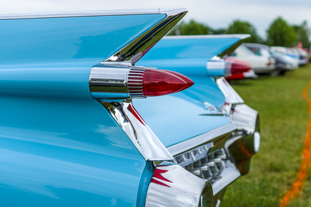 PAAREN IM GLIEN, GERMANY - JUNE 03, 2017: Rear stoplights of a full-size luxury car Cadillac Coupe DeVille, 1959 (focus in the foreground) Exhibition Die Oldtimer Show.